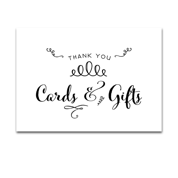 wedding sign fun doodle black and white  thank you cards