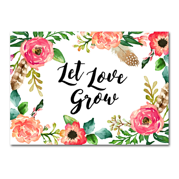 Wedding Sign Watercolor Flowers - Let Love Grow - Instant