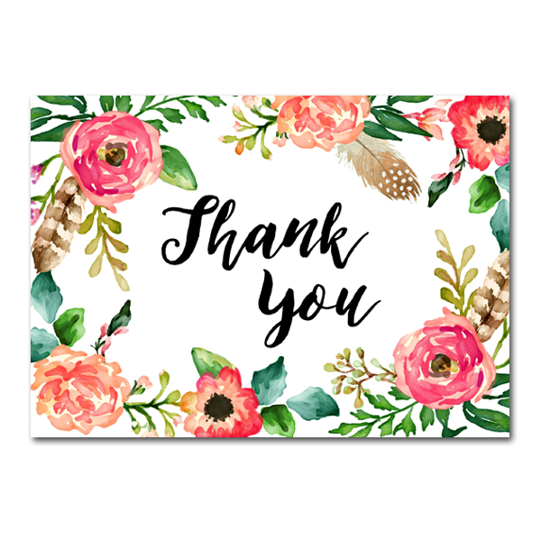 Wedding Sign Watercolor Flowers Thank You Instant