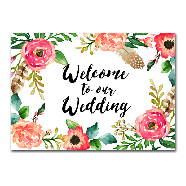 Wedding sign watercolor flowers welcome to our wedding instant wedding junglespirit Choice Image