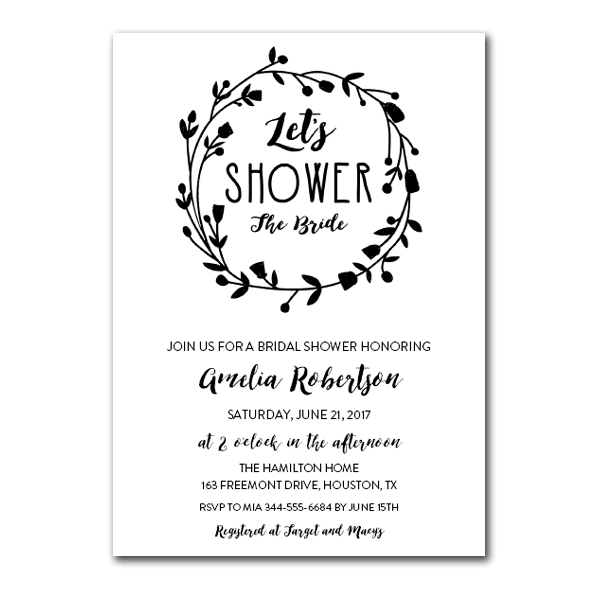 b41ca40b358 Free Printable Editable PDF Bridal Shower Invitation DIY - Let s Shower the Bride  Black White - Instant Download - Edit in Adobe Reader - Instant Download ...