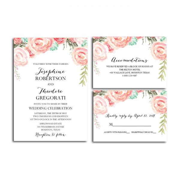 Editable PDF Wedding Invitation Suite DIY