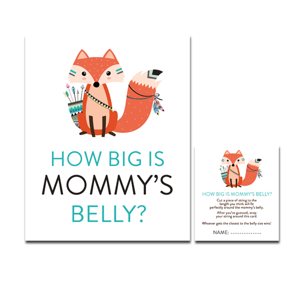 Baby Shower Game How Big Is Mommy S Belly Tribal Woodland Fox Printable Instant Download