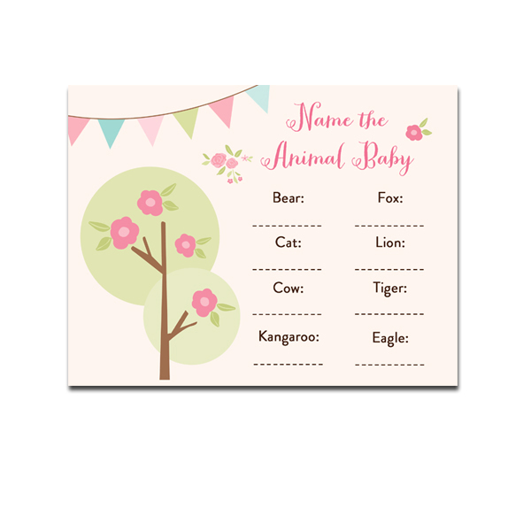 Baby Shower Game Name The Baby Animal: Baby Shower Game Name The Animal Baby Tree Forest