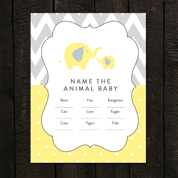 Baby Shower Game Name The Baby Animal: Baby Shower Game Name The Animal Baby Yellow Gray Elephant