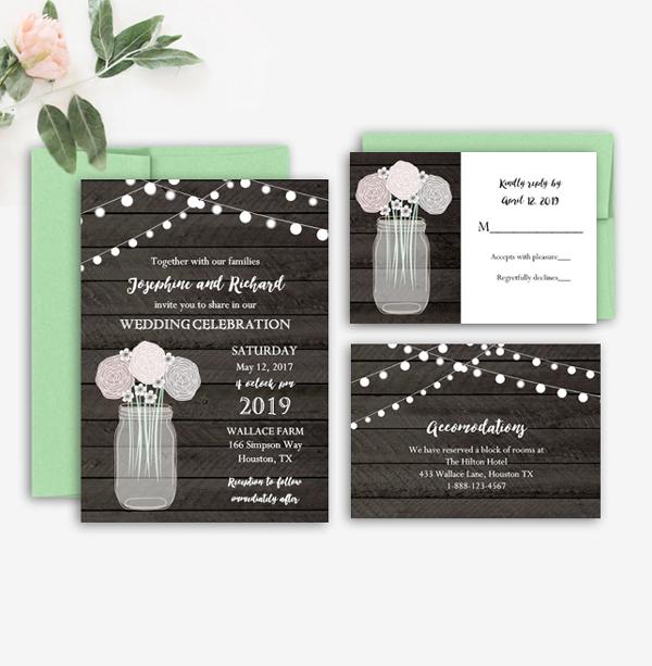 Editable Rustic Wedding Invitation Suite Wood Grain Mason Jar - Wedding invitation templates: hotel accommodations template for wedding invitations