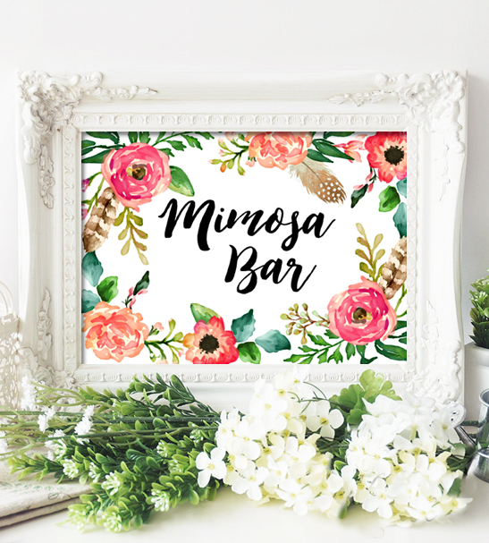Rustic Floral Wedding Sign Mimosa Bar Printable Instant