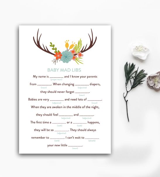Baby Shower Activity Mad Libs Rustic Floral Deer Antlers Instant ...