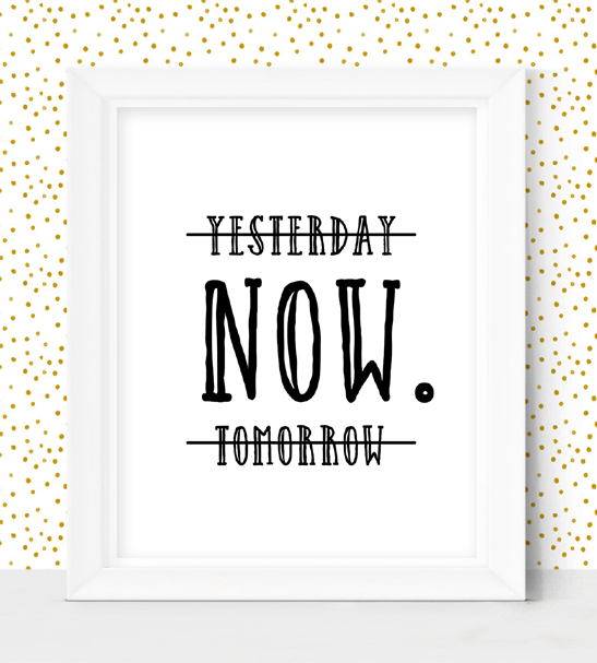 Yesterday Now Tomorrow Home Decor Sign Instant Download