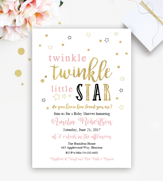 Twinkle Twinkle Little Star Editable Baby Shower or Birthday