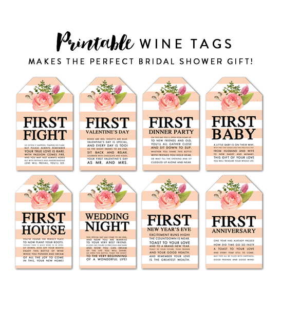 Influential image with free printable wine tags for bridal shower