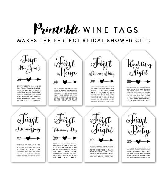 Sly image within printable wine tags for bridal shower gift