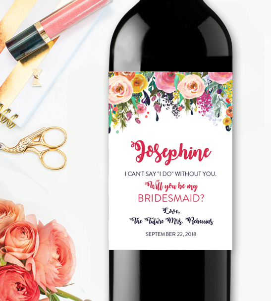 Editable wine label will you be my bridesmaidwatercolor for Will you be my bridesmaid wine label template