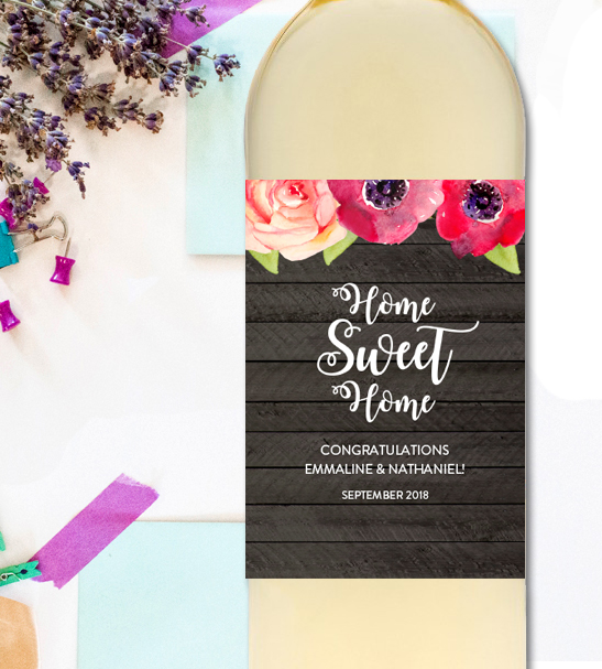 editable wine label home sweet home new home gift pdf