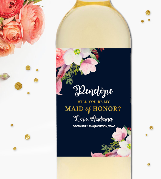 will you be my bridesmaid wine label template - editable wine label wedding will you be my maid of honor