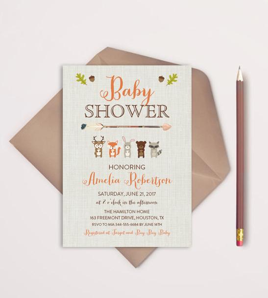 Editable Tribal Arrow Woodland Fox Friends Baby Shower Invitation