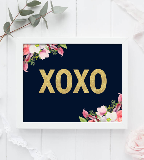 Home Decor Xoxo Navy Printable Instant Download