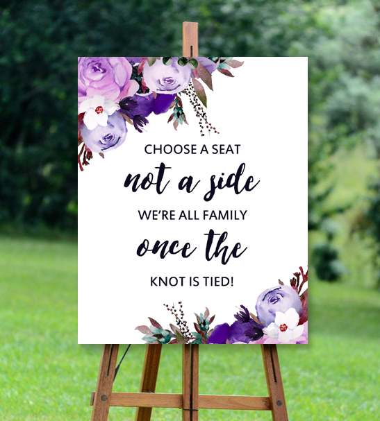 Wedding sign choose a seat purple watercolor flowers printable wedding thumb sign big outdoor 1 junglespirit Choice Image