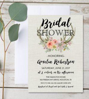 editable bridal shower invitation rustic deer antler watercolor flowers pdf instant download