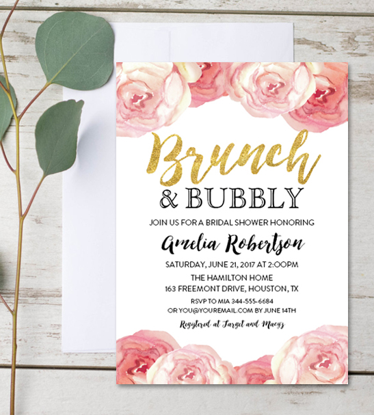 Editable Bridal Shower Invitation Brunch and Bubbly Watercolor