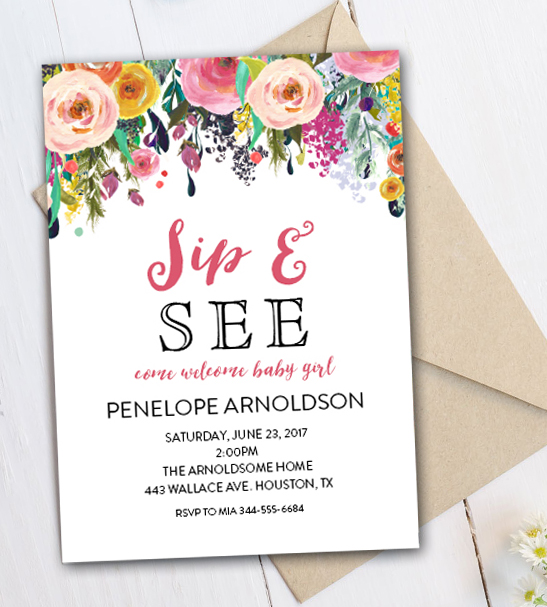 editable sip and see invitation watercolor flowers pdf printable