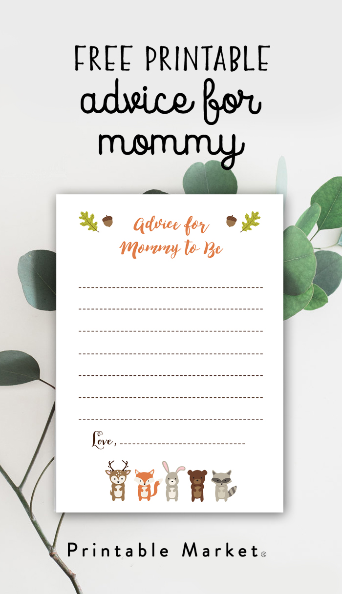 Free Baby Shower Printable U2013 Woodland Fox Advice For Mommy To Be