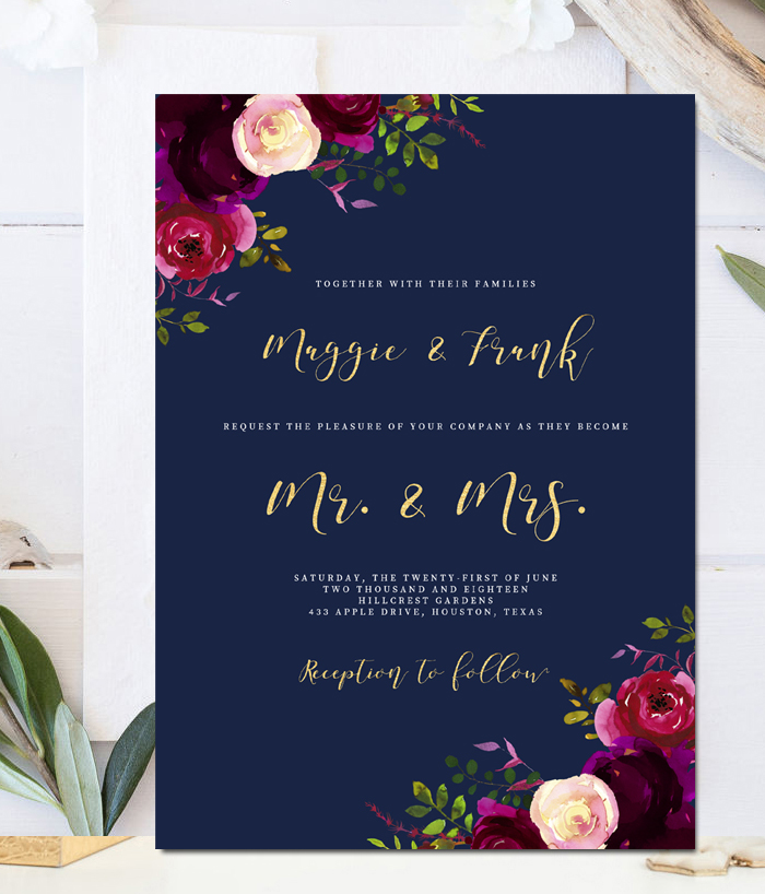 navy wedding invitations editable wedding invitation template navy marsala 6135