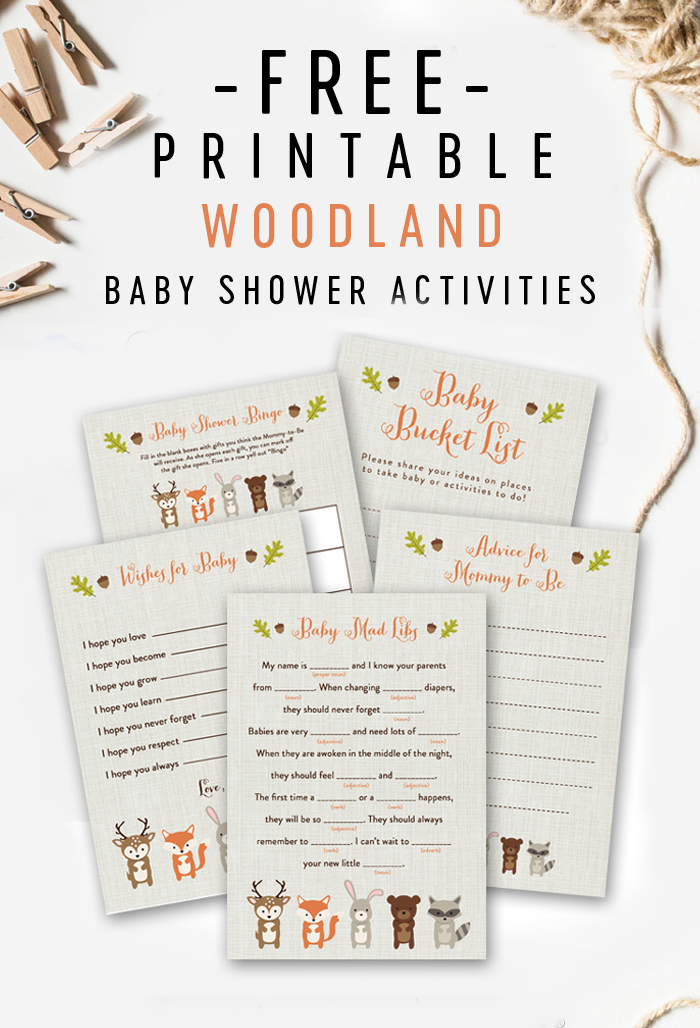 Free Woodland Fox Baby Shower Printable Games Printable Market