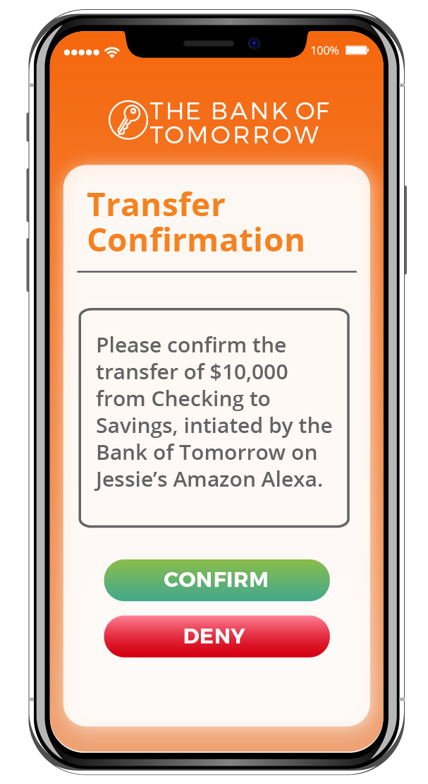 The Bank of Tomorrow App showing a Transfer Confirmation powered by Privakey