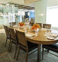 Glass enclosed private dining room the sea grill for Best private dining rooms new york