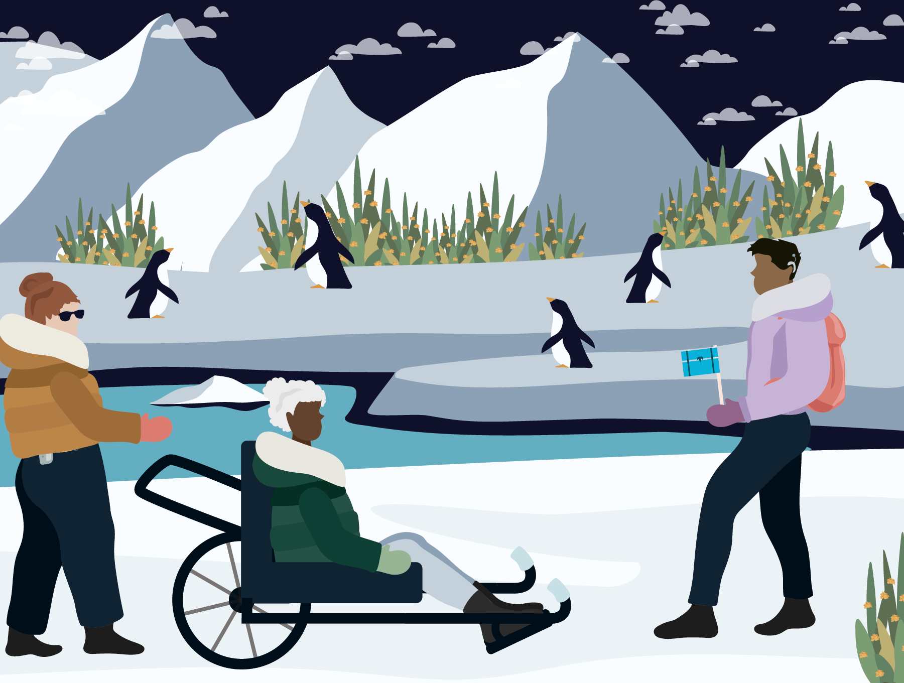 Woman with insulin pump, woman in all-terrain wheelchair, and a man on the ice with penguins and mountains in the background. Illustration.