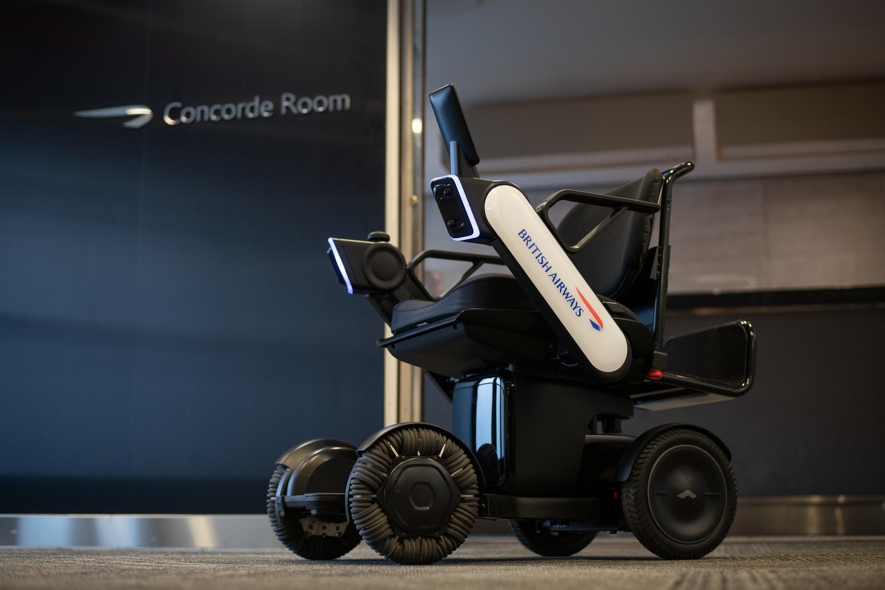 WHILL Model Ci autonomous wheelchair with British Airways branding.