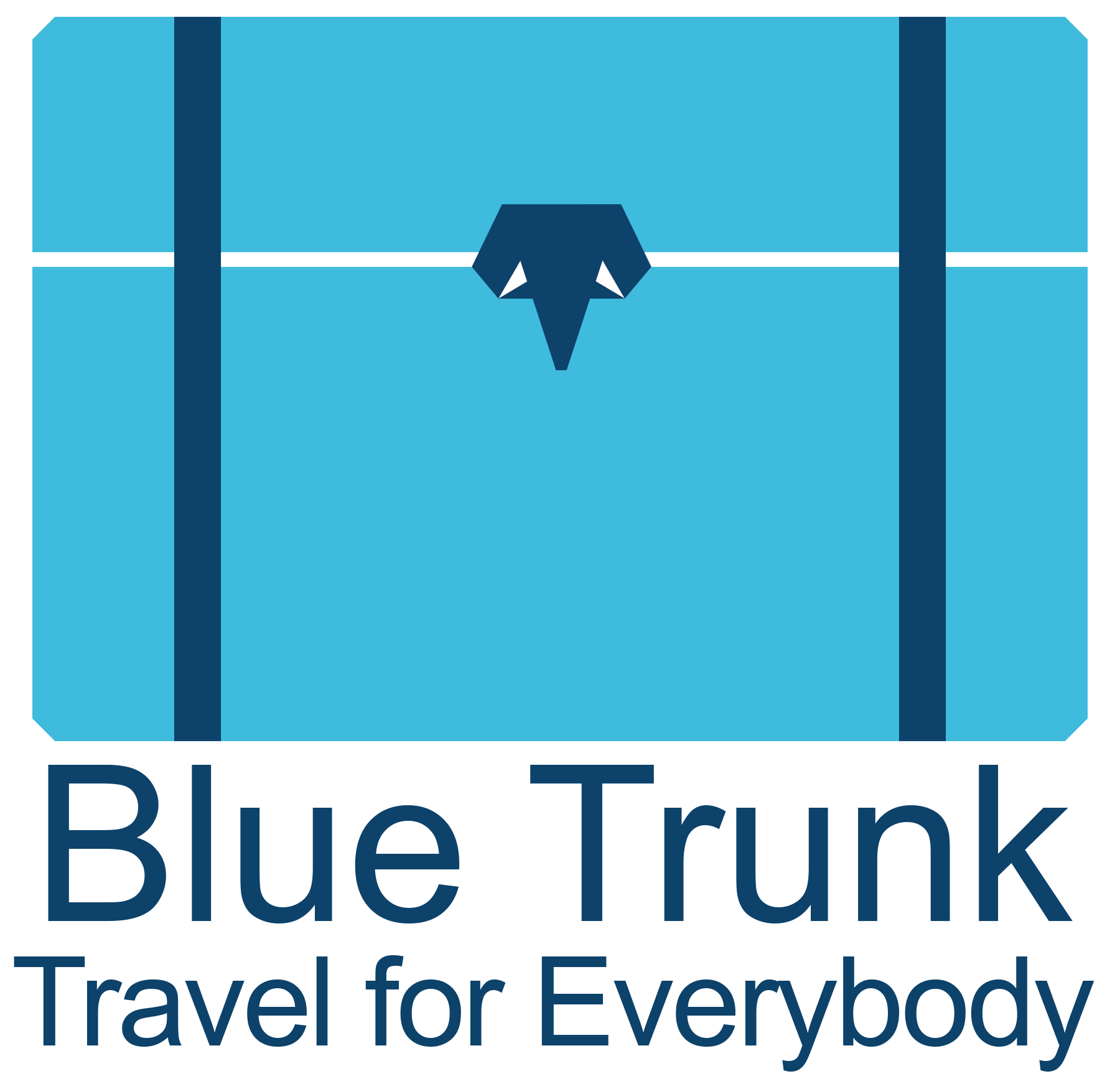 "Blue Trunk logo, blue travel trunk with elephant head clasp. Words ""Blue Trunk, Travel for Everybody"" underneath. Illustration."