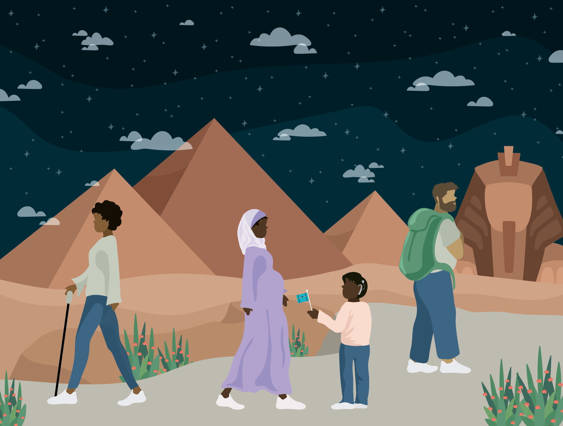 Four people with different disabilities in the foreground, night sky, Giza pyramids, and Sphinx in the background. Illustration.