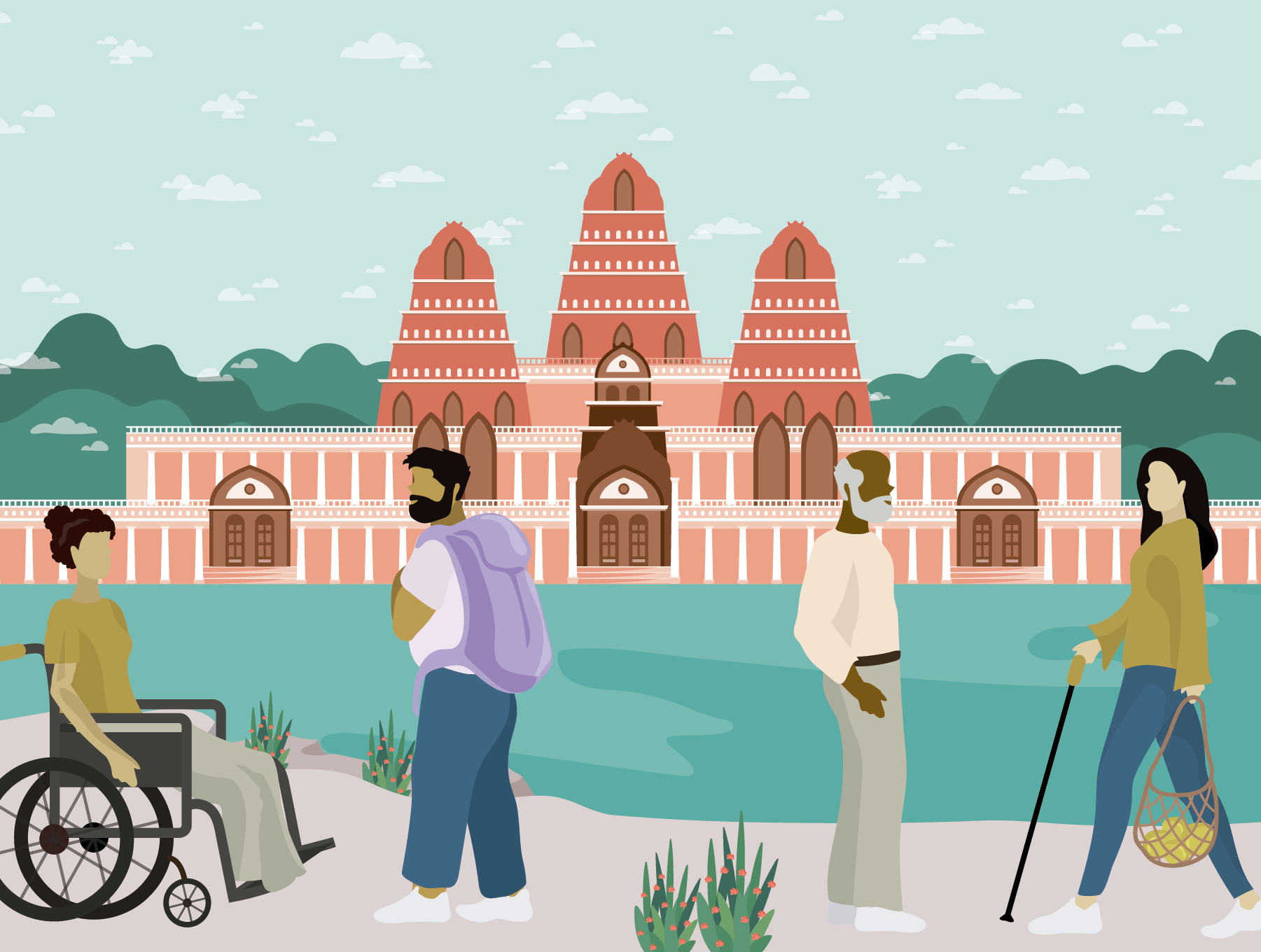 Four people of various ages and disabilities in the foreground, the large Angkor Wat temple in the background. Illustration.