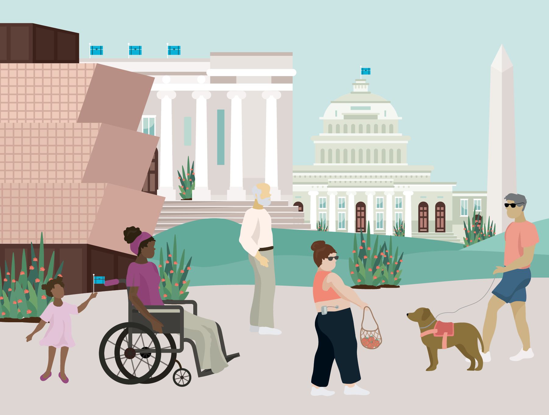 Several people with various disabilities in front of D.C. monuments including the African American History Museum, Lincoln Memorial, Capitol Building, and Washington Monument. Illustration.