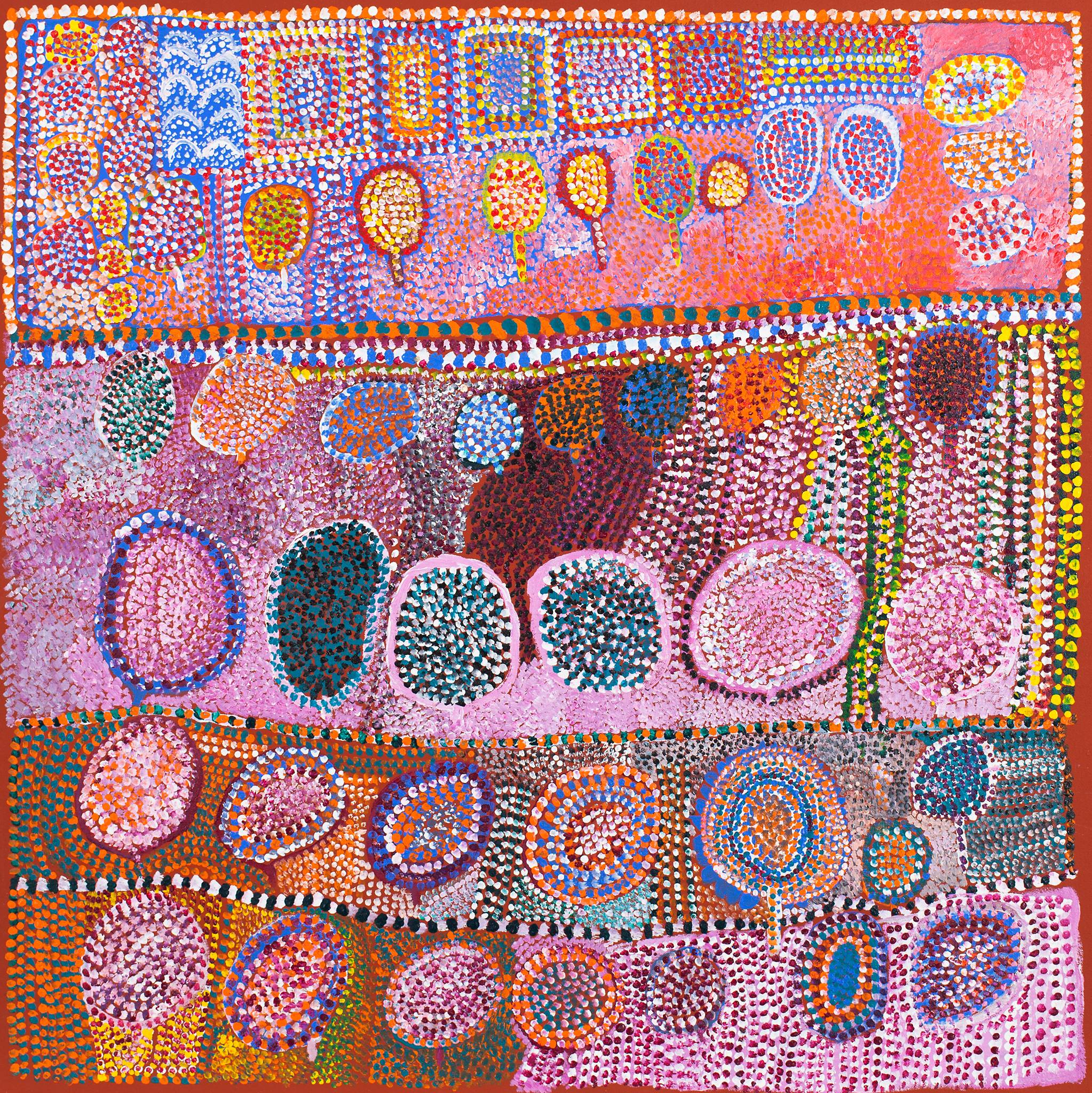 Aboriginal artwork, colorful with lots of pinks, reds, and orange tones. Dots of white paint forming geometric shapes in rows.