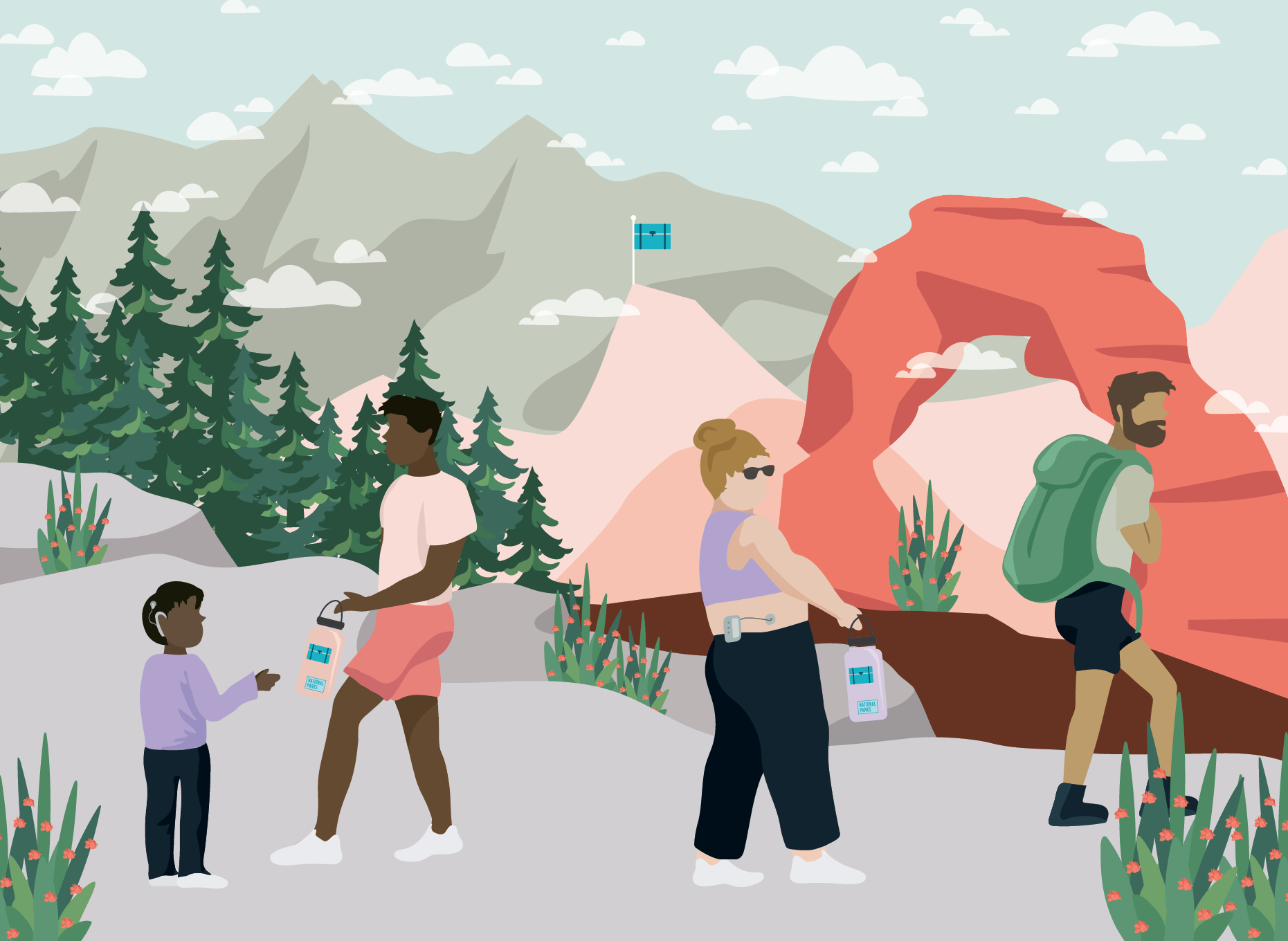 Four people in the foreground, one child with a hearing aid and one woman with an insulin pump. Wilderness in the background including stone arch, trees, and mountains. Illustration.