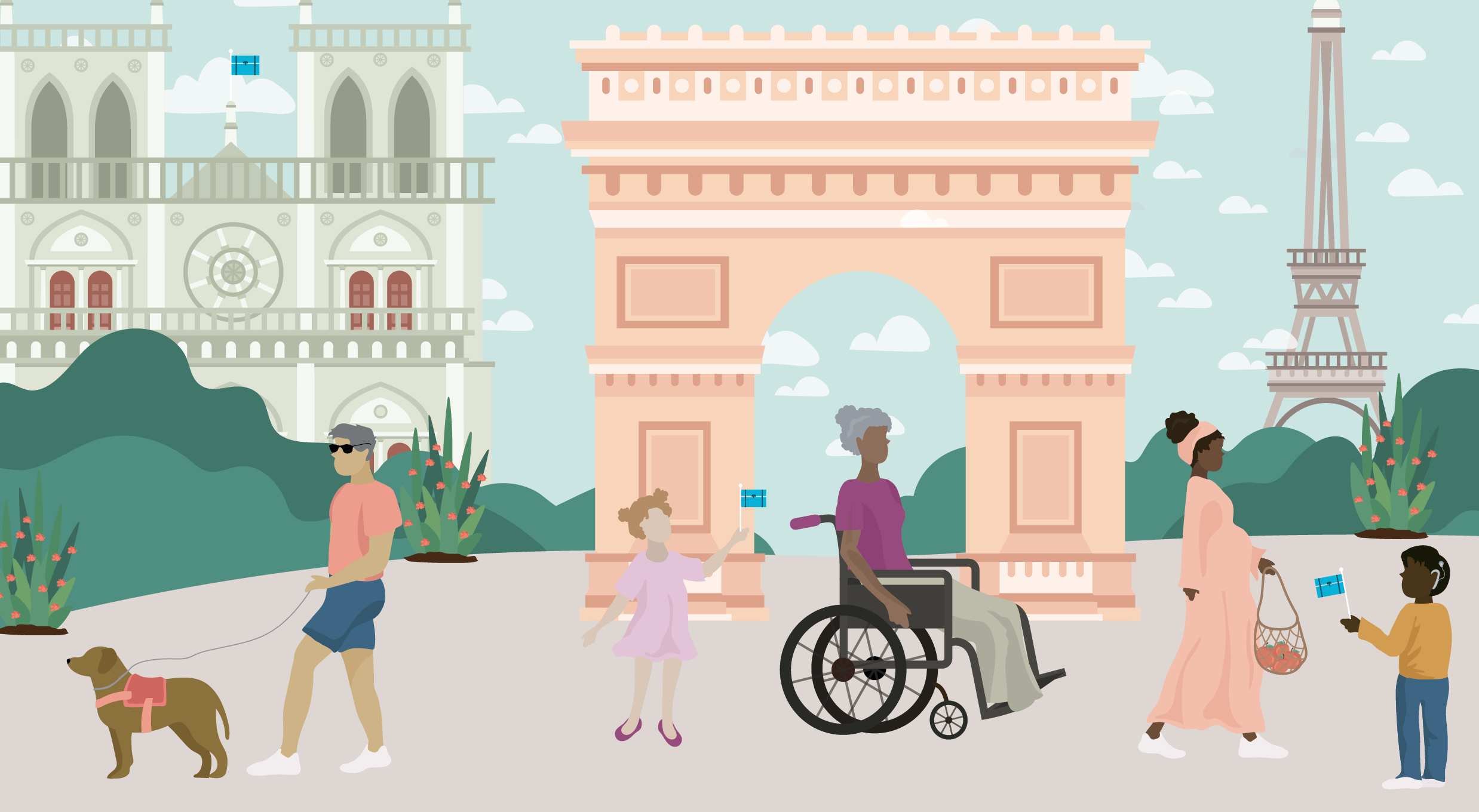 Man with guide dog, little girl with older woman in wheelchair, and pregnant woman with child. Background with Notre Dame, Arc de Triomphe, and Eiffel Tower. Illustration.