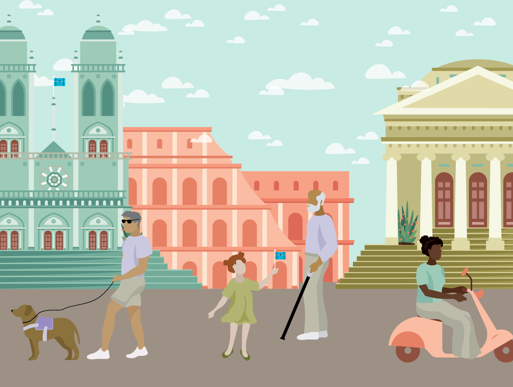 People of various ages and disabilities in the foreground, Roman landmarks in the background. Illustration