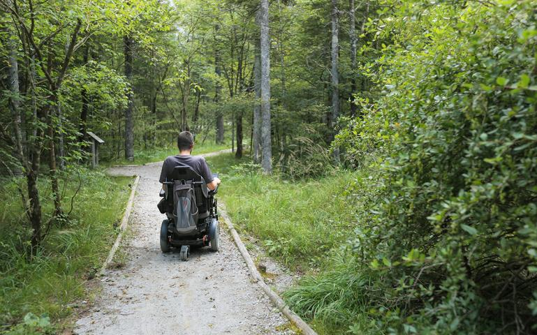 Man in power wheelchair from behind on a gravel trail in the woods.