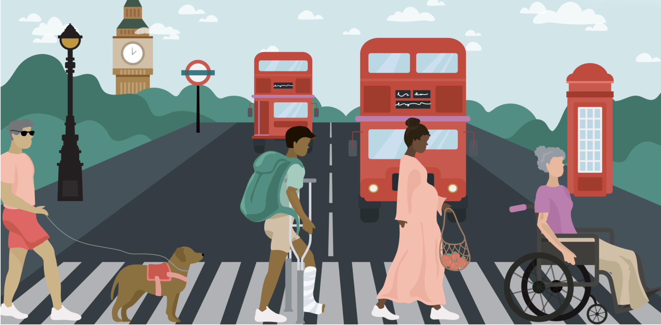 Four people in a crosswalk with red double decker busses, a red phone booth, and Big Ben in the background. Illustration.