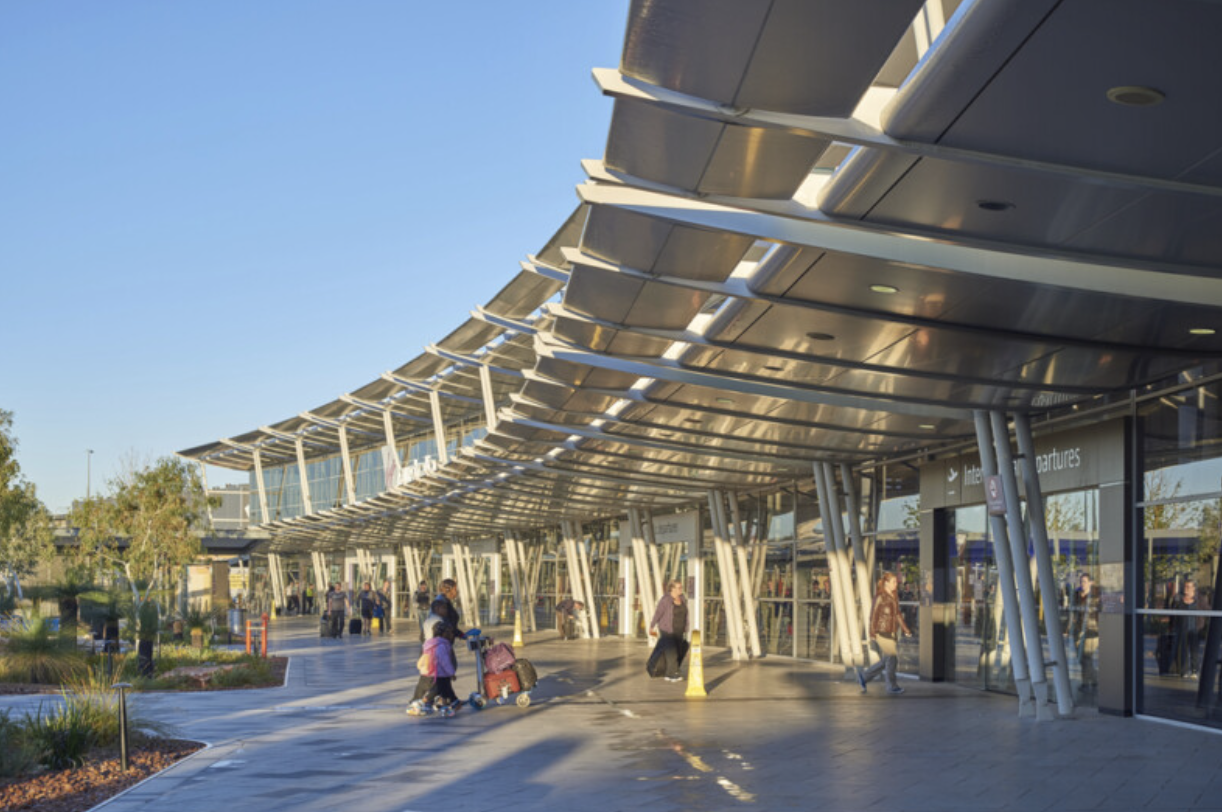 View of an entrance to Perth Airport in the daytime. Image.