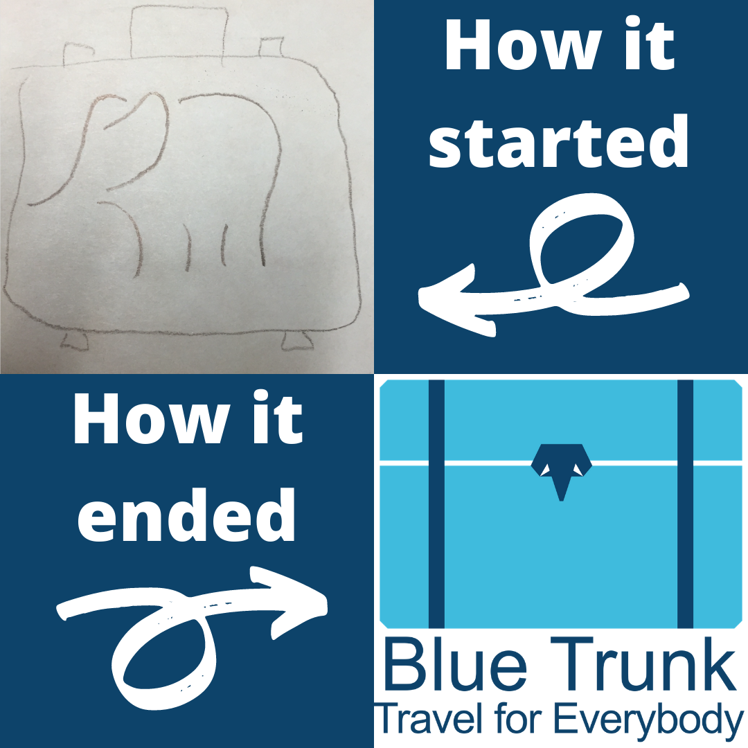 "Four panel grid, top left panel has a pencil sketch of a suitcase with a line drawing of an elephant on it, top right panel says ""How it started"" with an arrow pointing to the left, bottom left panel says ""How it ended"" with an arrow pointing to the right"