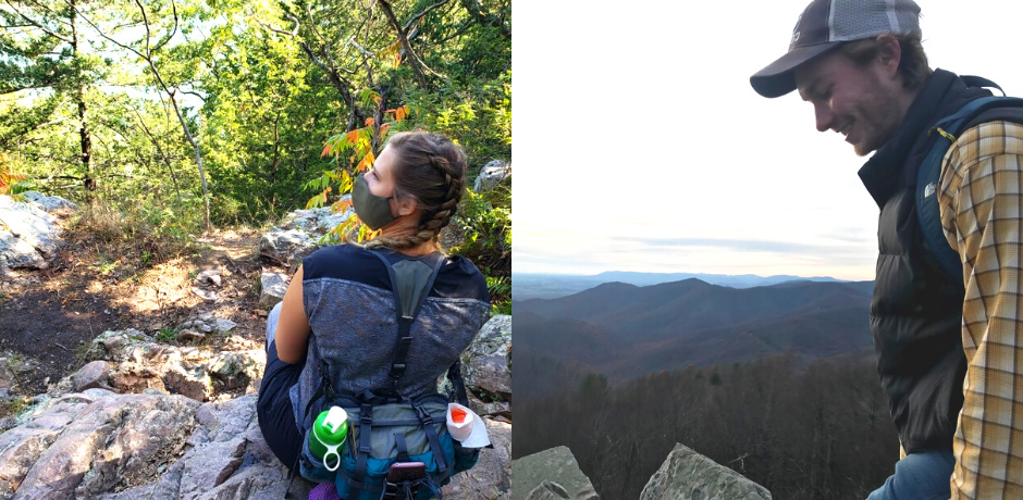 Left: Tiffany Smith sitting on a rock during a hike; Right: Jack Corbett smiling overlooking a mountain view