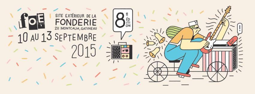 Affiche du Festival de l'Outaouais émergent. Un dessin d'un personnage sur une vélo qui joue de la guitare.
