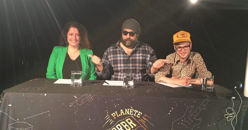 Le jury des auditions de Planète BRBR à Caraquet, de gauche à droite : Véronique Wade, Stef Paquette et Pierre Guitard.