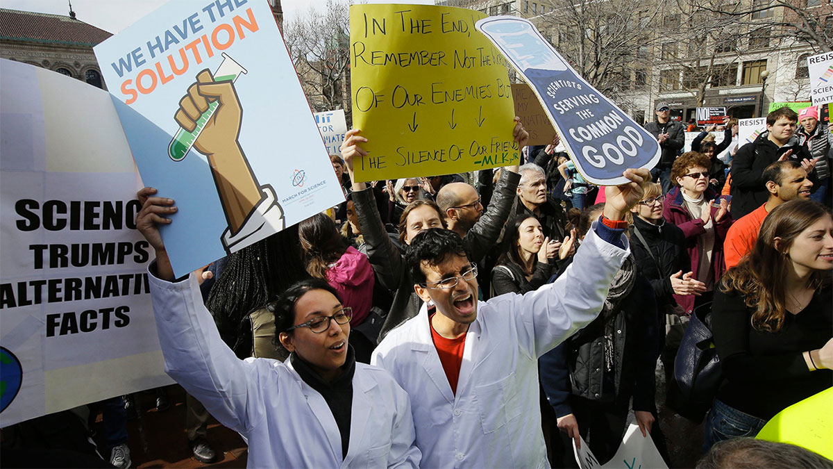 Scientists hold rally in Boston to protest threat to science