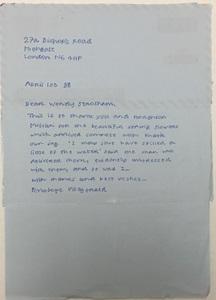 Penelope Fitzgerald letter