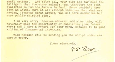 T.S. Eliot Letter